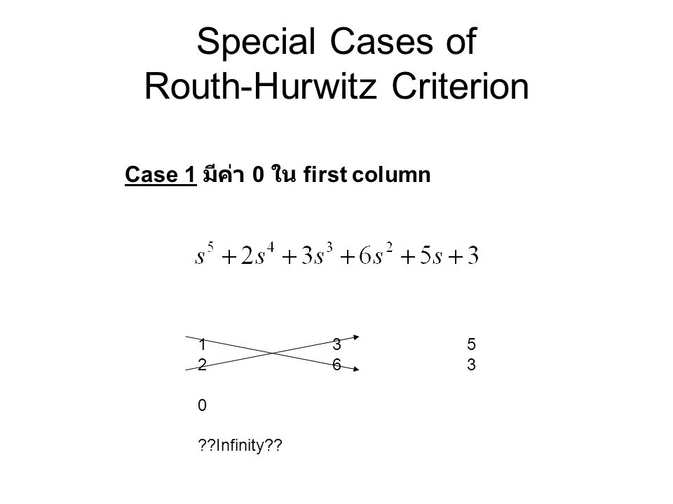 Special Cases of Routh-Hurwitz Criterion