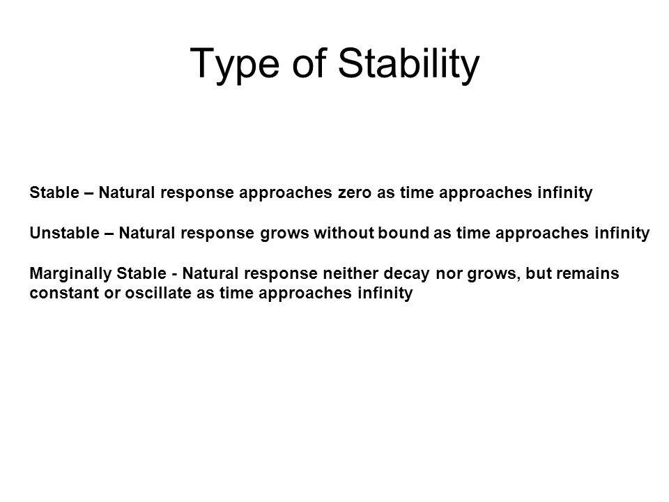 Type of Stability Stable – Natural response approaches zero as time approaches infinity.