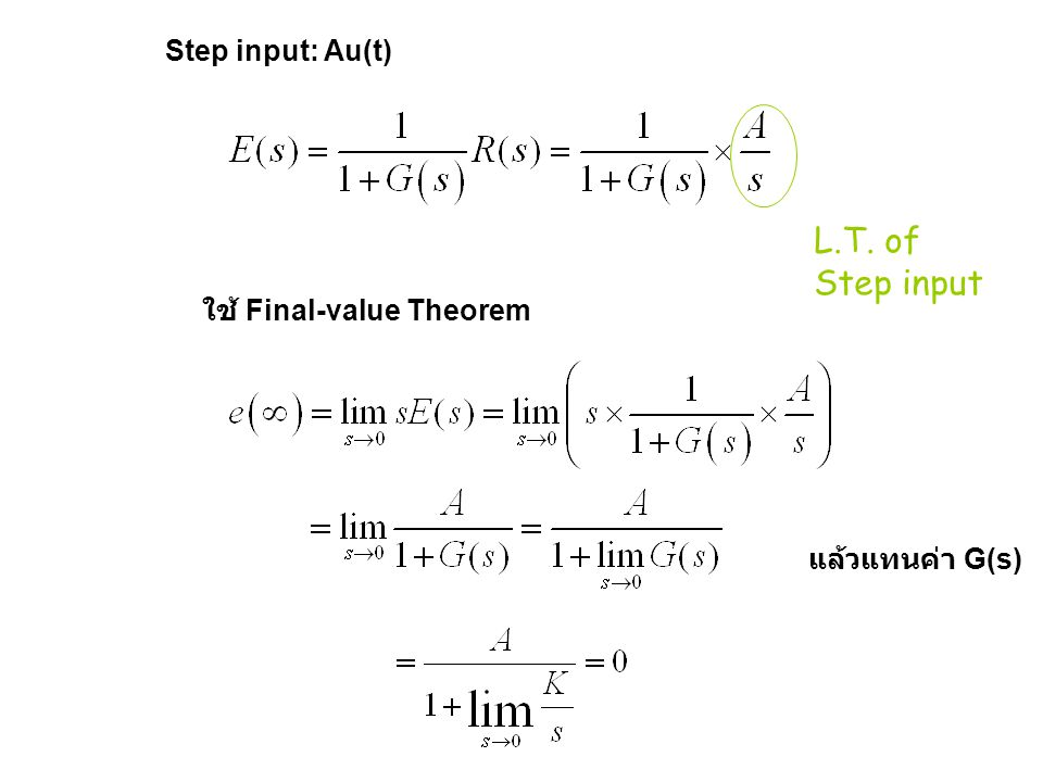L.T. of Step input Step input: Au(t) ใช้ Final-value Theorem