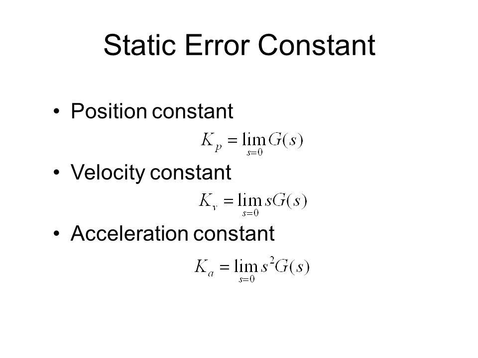 Static Error Constant Position constant Velocity constant