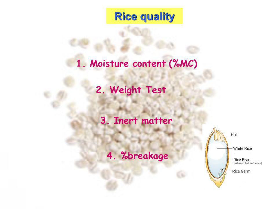 Rice quality 1. Moisture content (%MC) 2. Weight Test 3. Inert matter