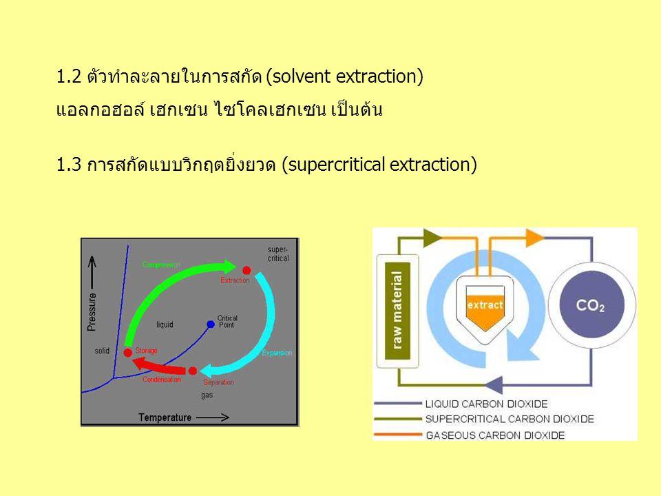 1.2 ตัวทำละลายในการสกัด (solvent extraction)