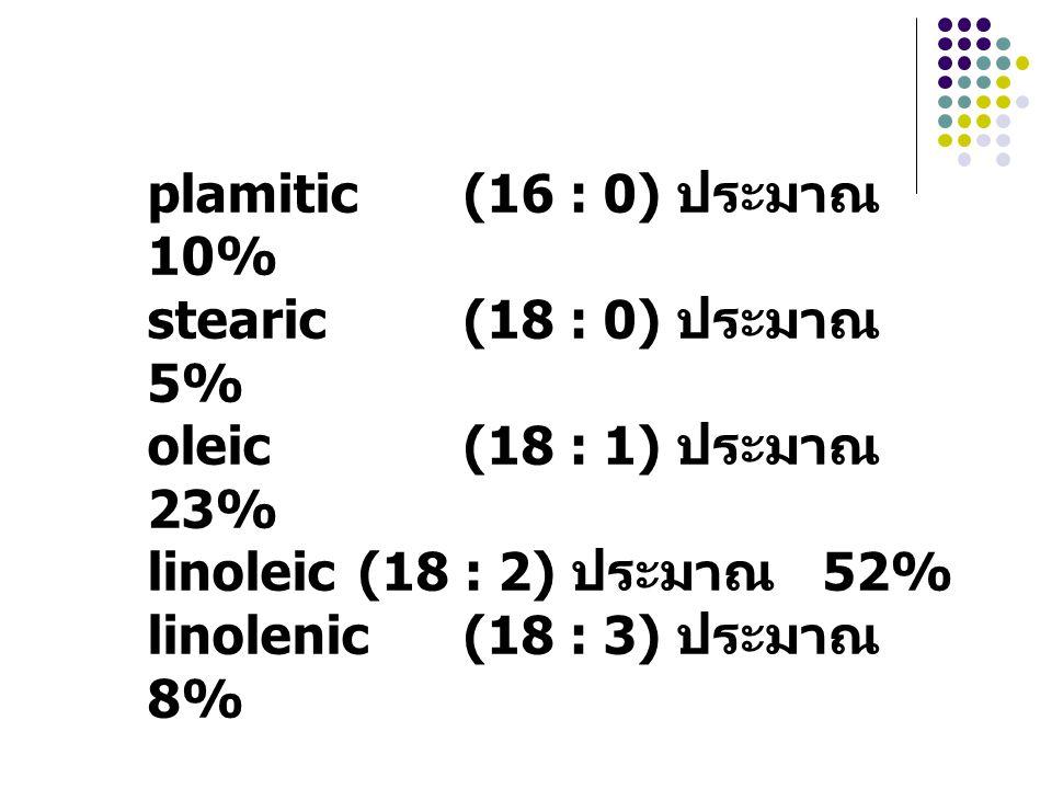 plamitic (16 : 0) ประมาณ 10% stearic (18 : 0) ประมาณ 5% oleic (18 : 1) ประมาณ 23% linoleic (18 : 2) ประมาณ 52%