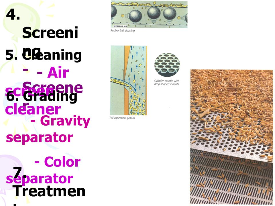 4. Screening - Screener - Air screen cleaner 7. Treatment 5. Cleaning