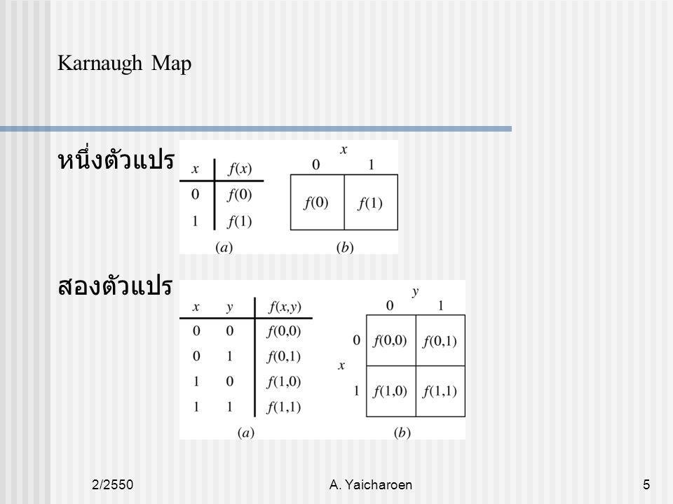 Karnaugh Map หนึ่งตัวแปร สองตัวแปร 2/2550 A. Yaicharoen