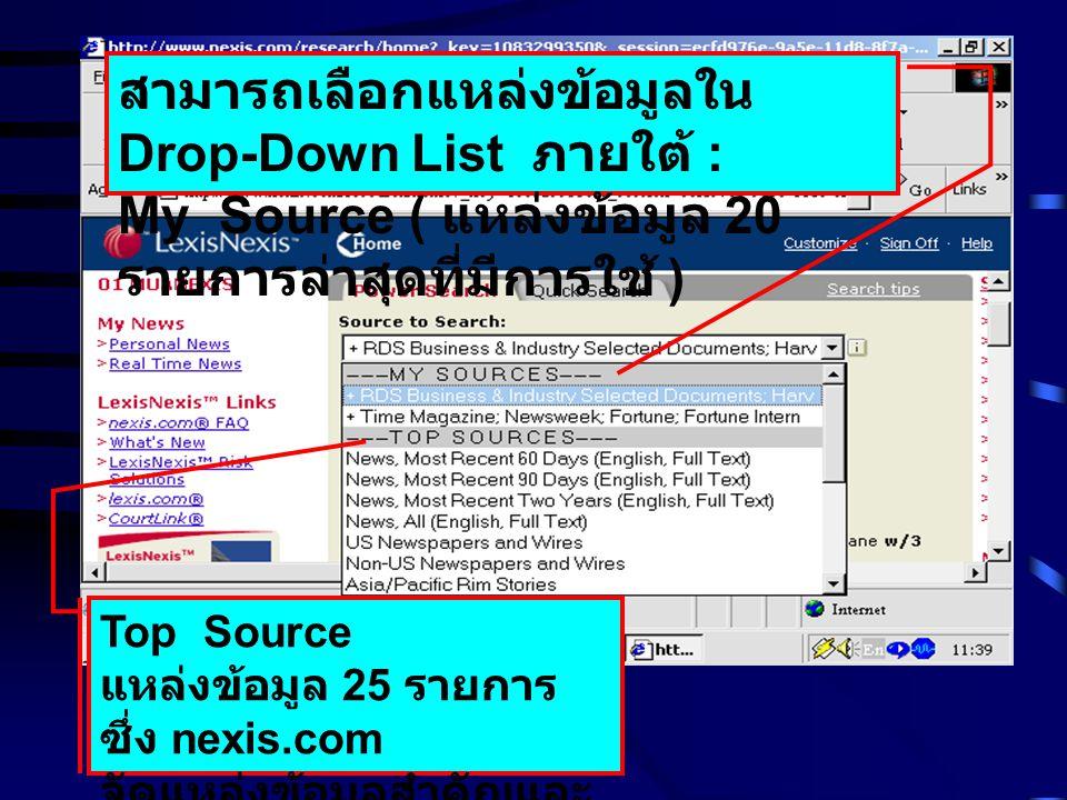 สามารถเลือกแหล่งข้อมูลใน Drop-Down List ภายใต้ :