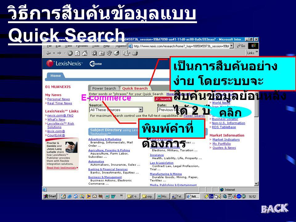 วิธีการสืบค้นข้อมูลแบบ Quick Search