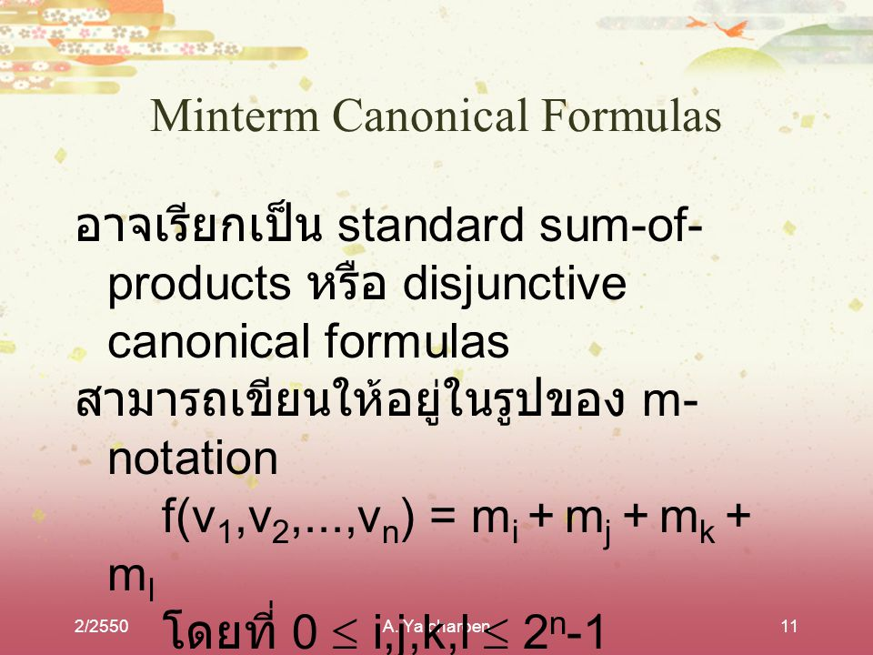 Minterm Canonical Formulas