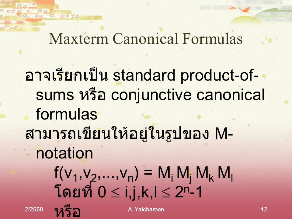 Maxterm Canonical Formulas