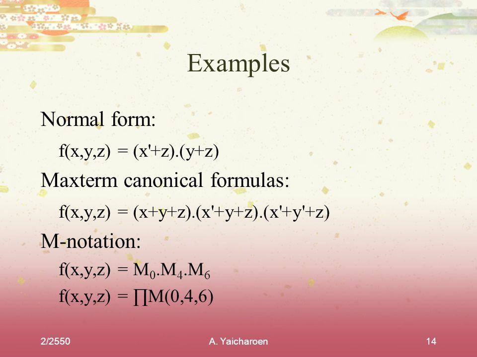 Examples Normal form: f(x,y,z) = (x +z).(y+z)