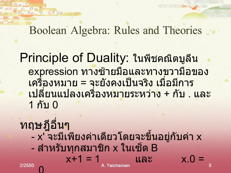 Boolean Algebra: Rules and Theories