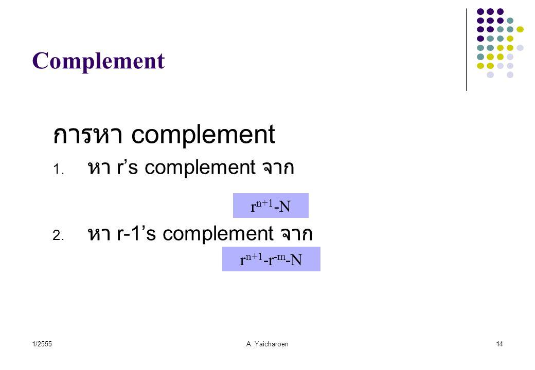 การหา complement Complement หา r's complement จาก