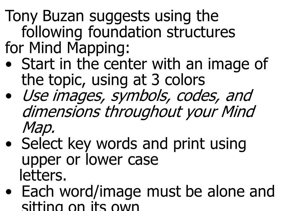 Mind map guidelines Tony Buzan suggests using the following foundation structures. for Mind Mapping: