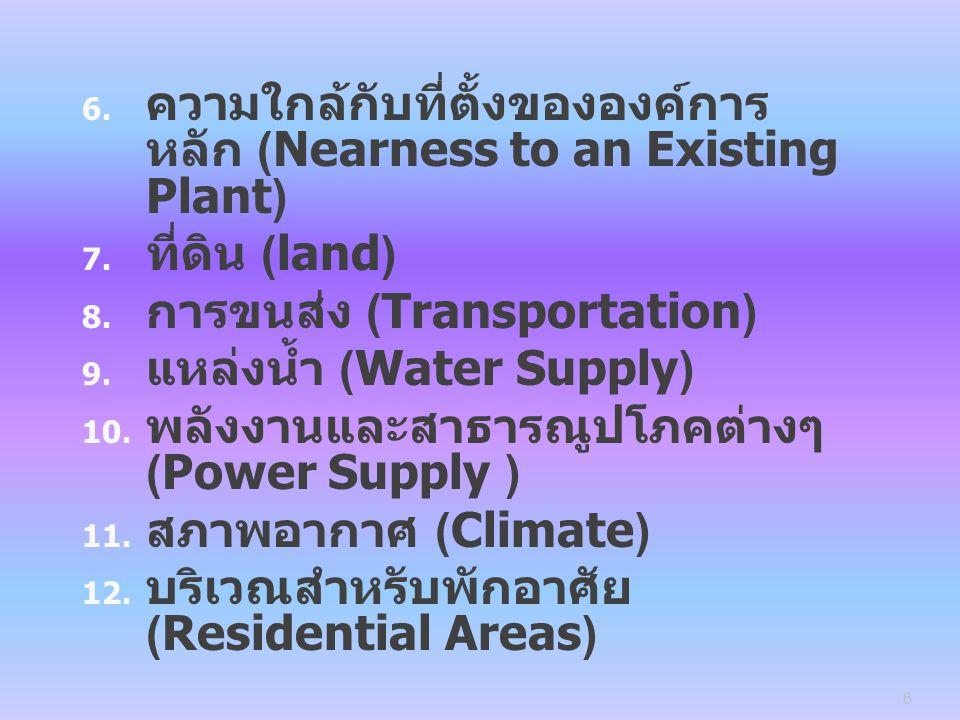 ความใกล้กับที่ตั้งขององค์การหลัก (Nearness to an Existing Plant)