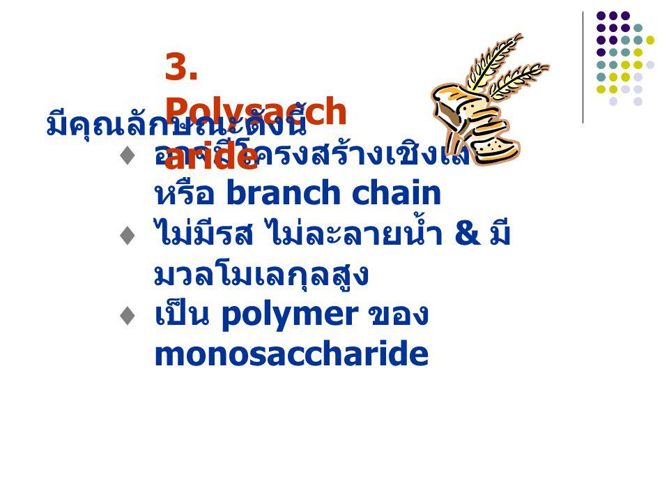 3. Polysaccharide มีคุณลักษณะดังนี้