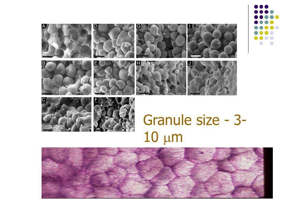 Granule size - 3-10 m