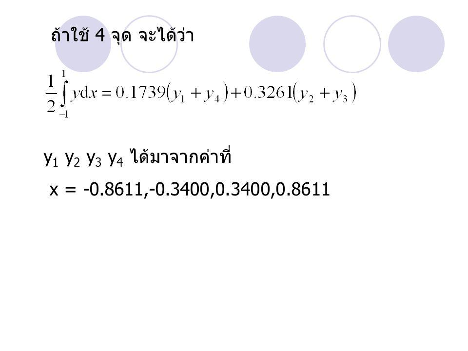 ถ้าใช้ 4 จุด จะได้ว่า y1 y2 y3 y4 ได้มาจากค่าที่ x = -0.8611,-0.3400,0.3400,0.8611