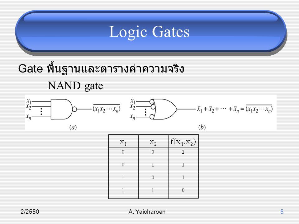 Logic Gates Gate พื้นฐานและตารางค่าความจริง NAND gate 2/2550
