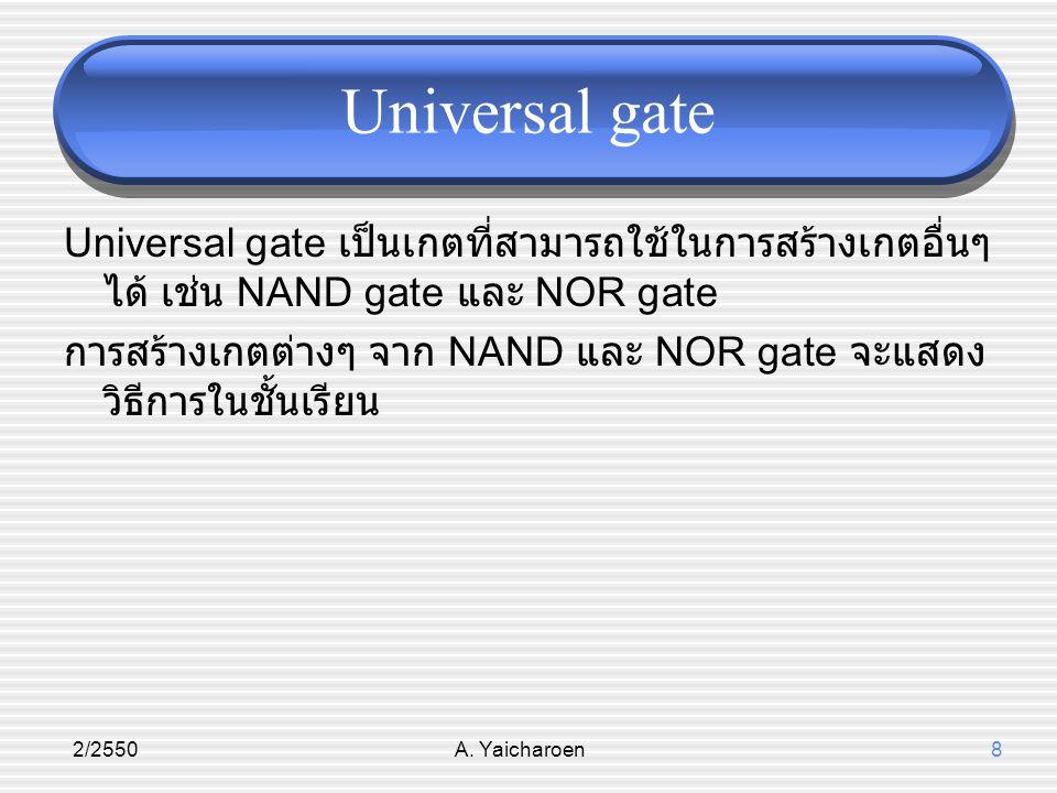 Universal gate Universal gate เป็นเกตที่สามารถใช้ในการสร้างเกตอื่นๆ ได้ เช่น NAND gate และ NOR gate.