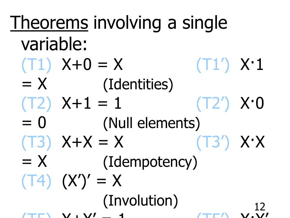 Theorems involving a single variable: (T1) X+0 = X. (T1') X·1 = X