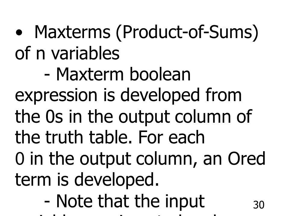 Maxterms (Product-of-Sums) of n variables
