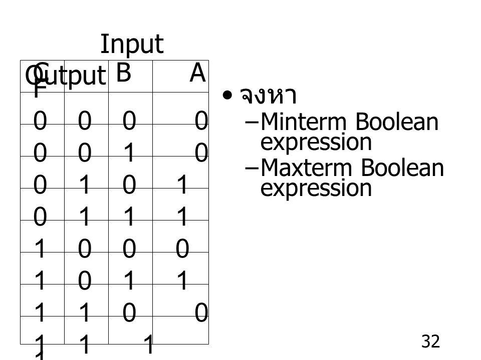 Input Output C B A F. 0 0 0 0. 0 0 1 0. 0 1 0 1.