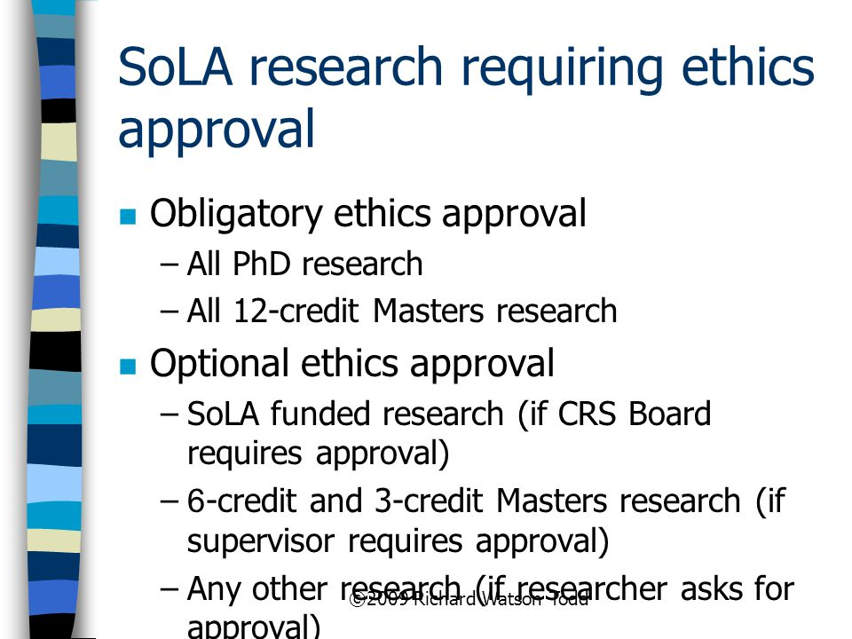 SoLA research requiring ethics approval