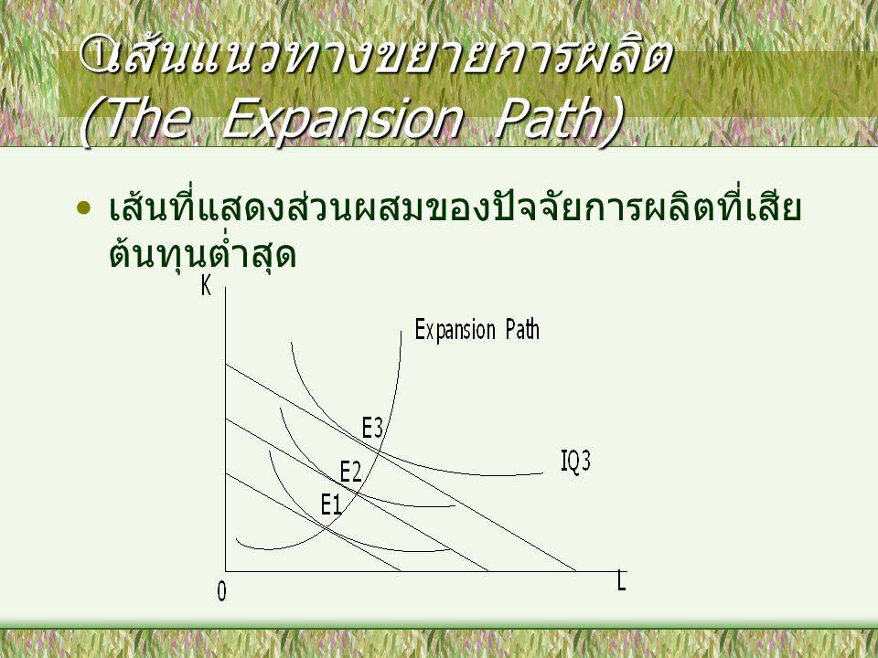 เส้นแนวทางขยายการผลิต (The Expansion Path)