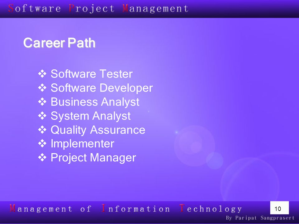Career Path Software Tester Software Developer Business Analyst