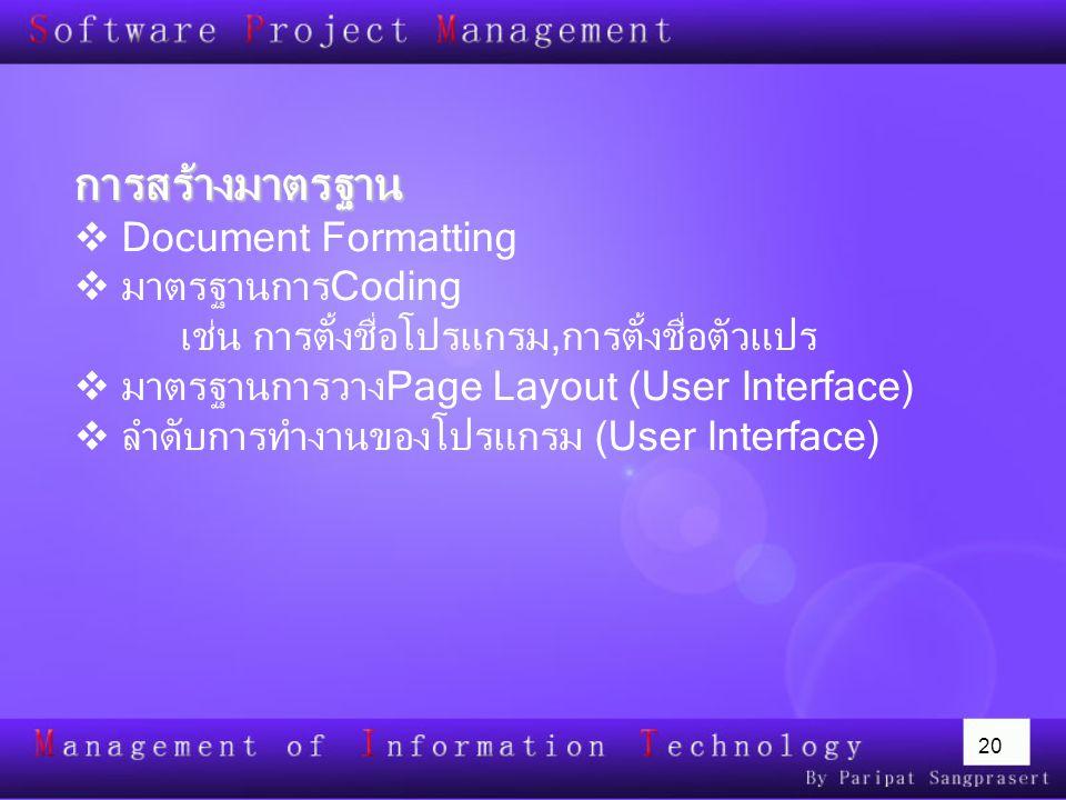 การสร้างมาตรฐาน Document Formatting มาตรฐานการCoding