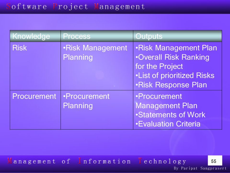 Risk Management Planning Risk Management Plan