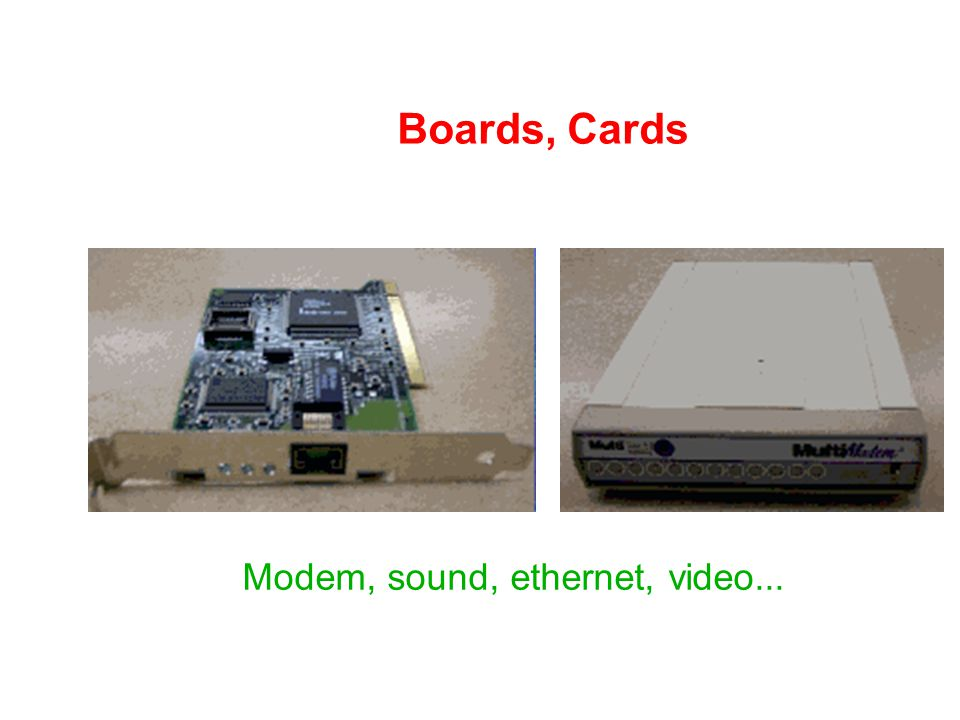 Modem, sound, ethernet, video...