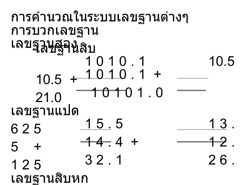 การคำนวณในระบบเลขฐานต่างๆ
