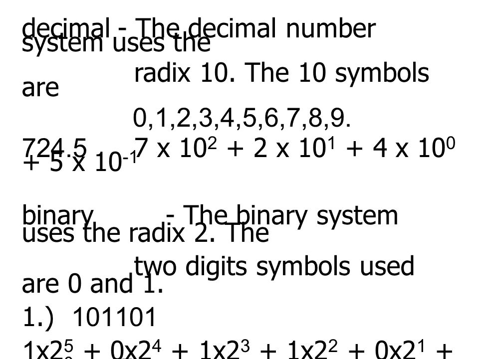 decimal - The decimal number system uses the