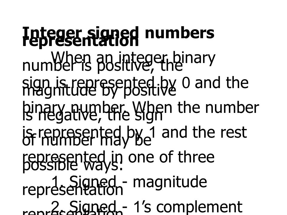 Integer signed numbers representation
