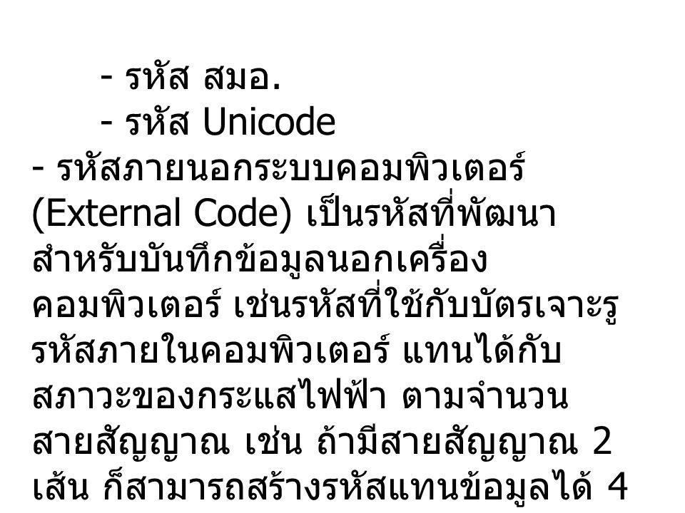 - รหัส สมอ. - รหัส Unicode.