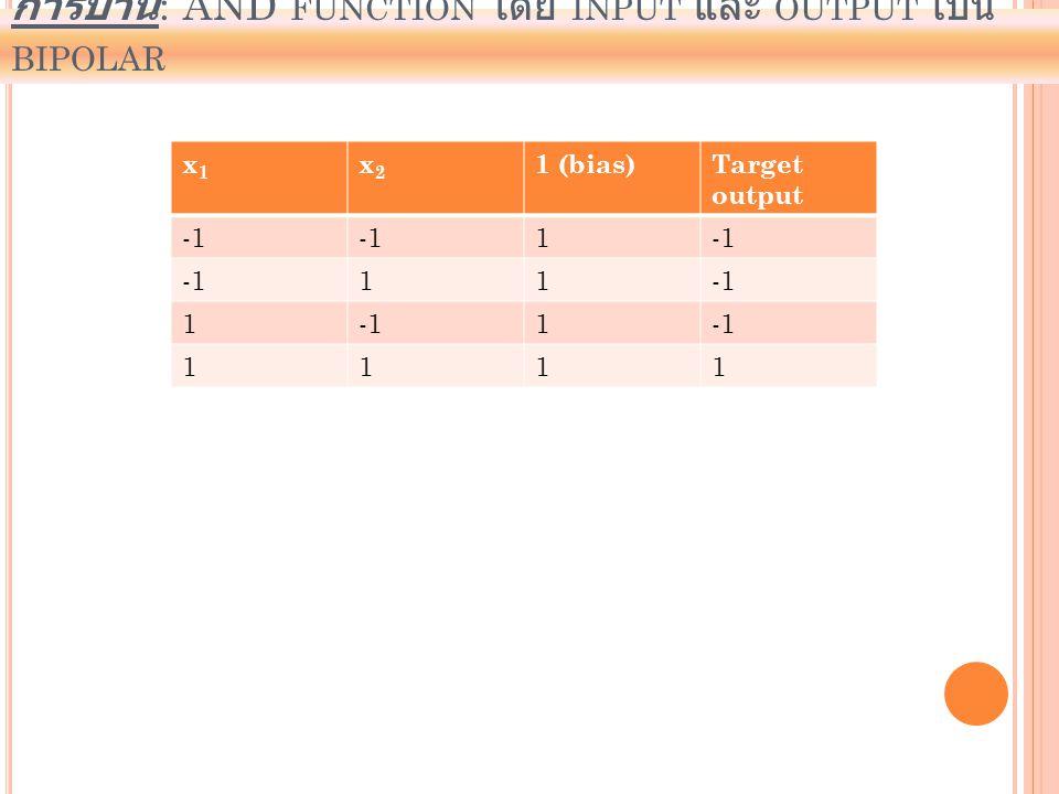 การบ้าน: AND function โดย input และ output เป็น bipolar