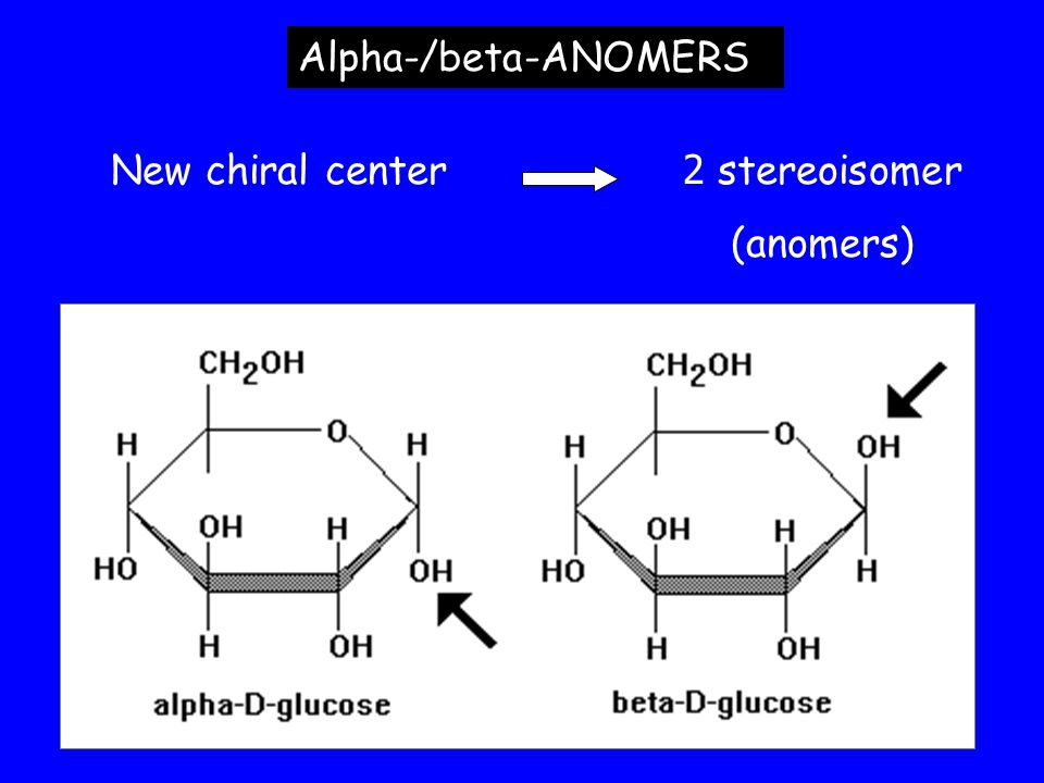 Alpha-/beta-ANOMERS New chiral center 2 stereoisomer (anomers)