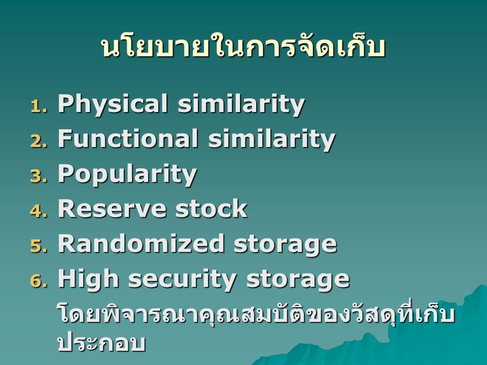 นโยบายในการจัดเก็บ Physical similarity Functional similarity