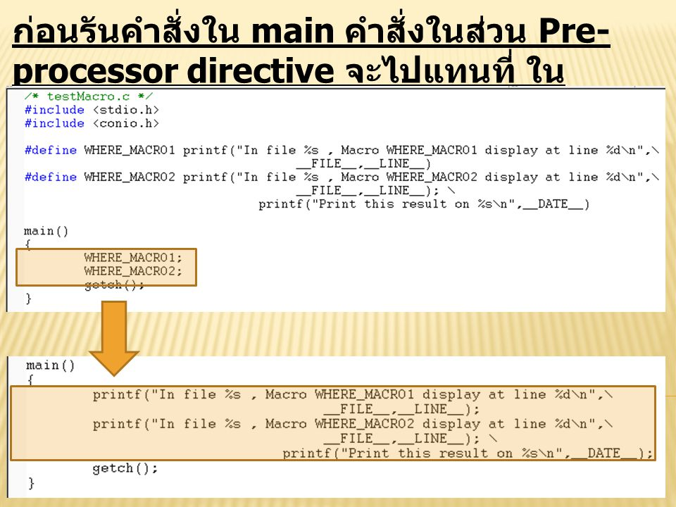 ก่อนรันคำสั่งใน main คำสั่งในส่วน Pre-processor directive จะไปแทนที่ ในตำแหน่งที่เรียนใช้ Pre-processor