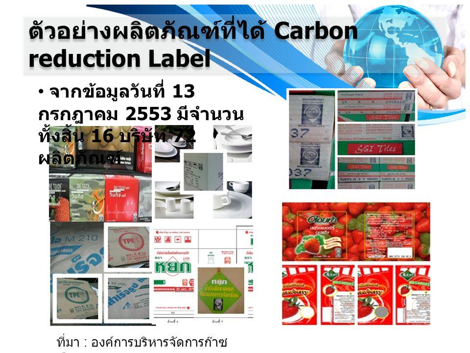 ตัวอย่างผลิตภัณฑ์ที่ได้ Carbon reduction Label