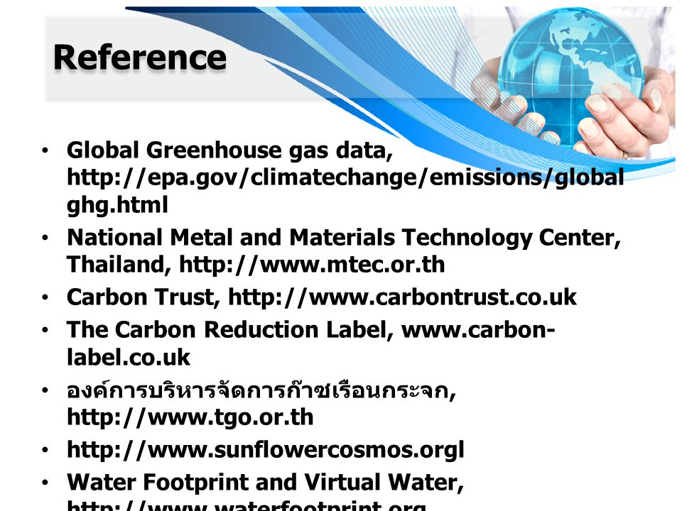 Reference Global Greenhouse gas data,