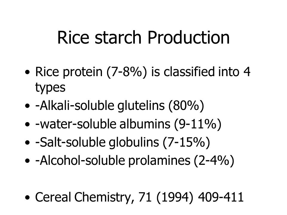 Rice starch Production