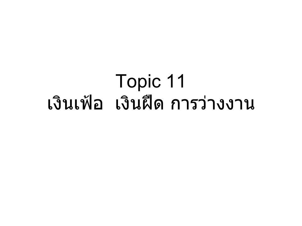 Topic 11 เงินเฟ้อ เงินฝืด การว่างงาน