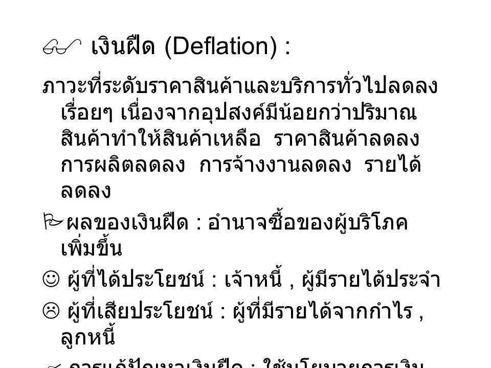 เงินฝืด (Deflation) :
