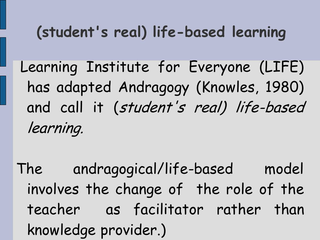(student s real) life-based learning