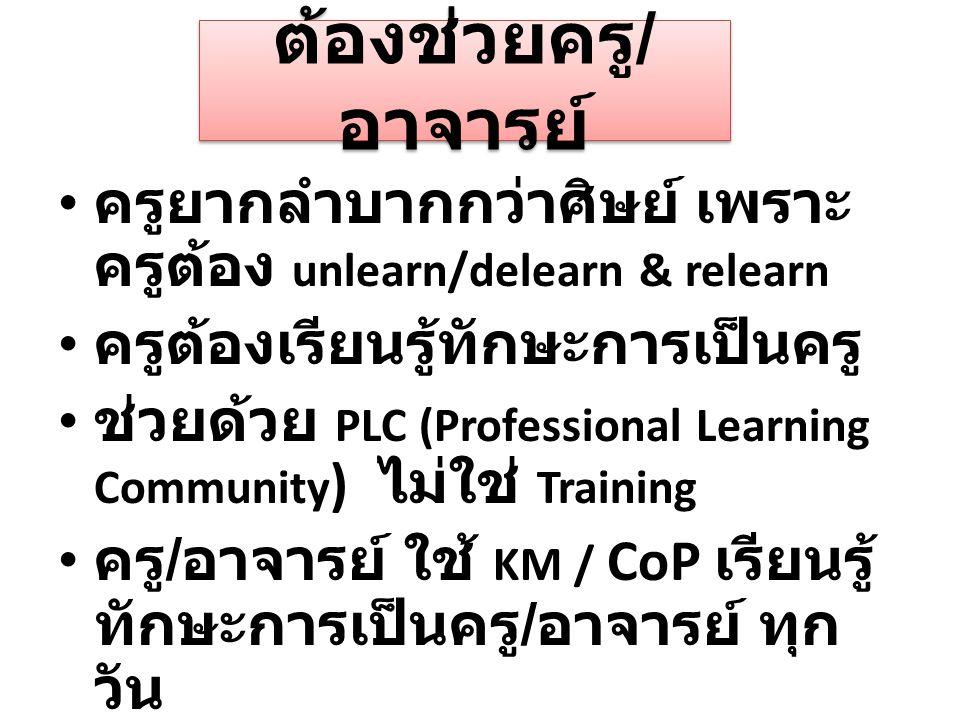 ต้องช่วยครู/อาจารย์ ครูยากลำบากกว่าศิษย์ เพราะครูต้อง unlearn/delearn & relearn. ครูต้องเรียนรู้ทักษะการเป็นครู