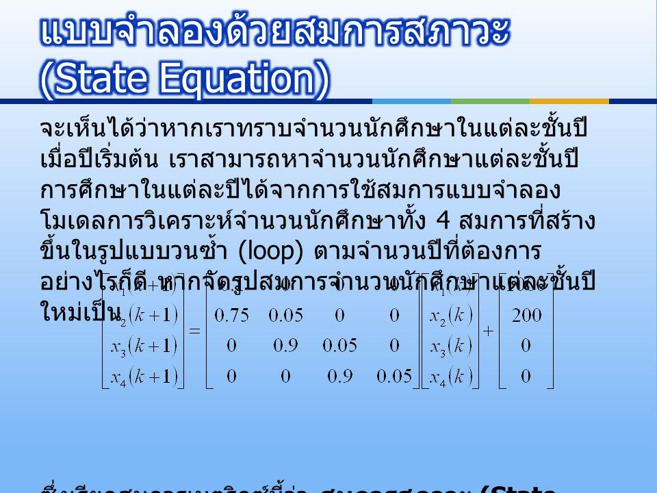 แบบจำลองด้วยสมการสภาวะ (State Equation)