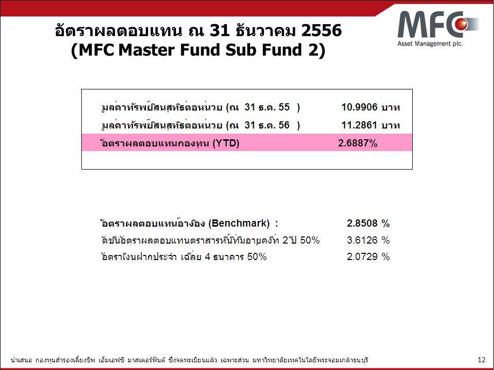 อัตราผลตอบแทน ณ 31 ธันวาคม 2556 (MFC Master Fund Sub Fund 2)