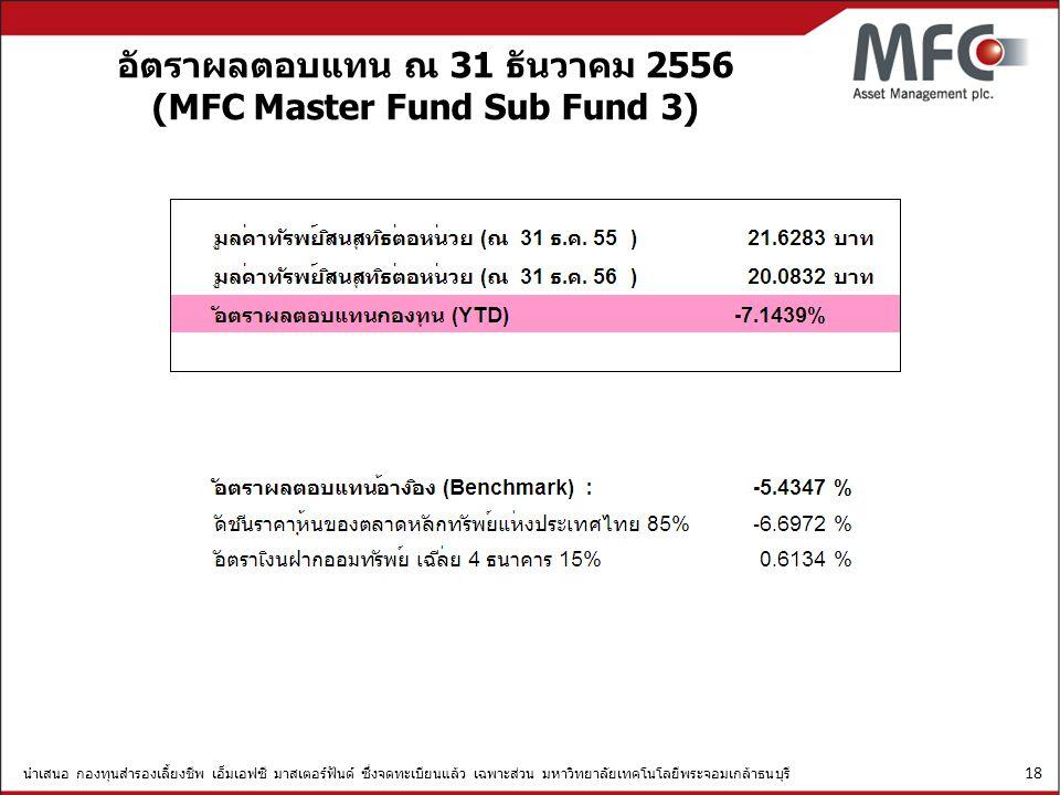 อัตราผลตอบแทน ณ 31 ธันวาคม 2556 (MFC Master Fund Sub Fund 3)